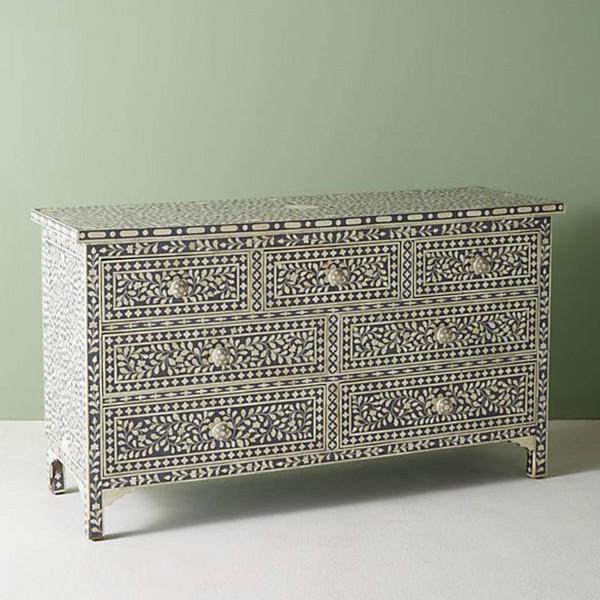 Handmade Bone Inlay Wooden Modern Floral Pattern Sideboard with 7 Drawer Furniture