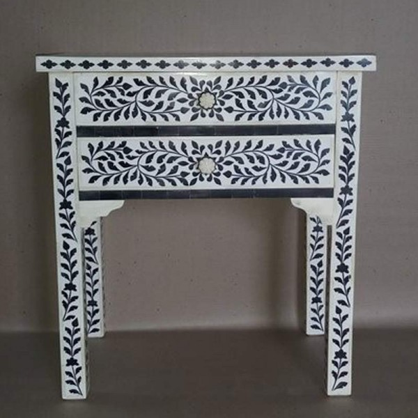 Handmade Mother of Pearl Inlay Wooden Modern Floral Pattern 2 Drawer Bedside Furniture