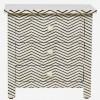 Handmade Bone Inlay Wooden Modern Zig-Zag Pattern  3 Drawer Home Decor  Bedside Furniture