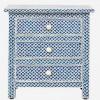 Handmade Bone Inlay Wooden Modern Fish Scale 3 Drawer Bedside Furniture